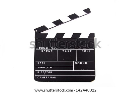 Front view of blank black film clapper board, isolated on white background. - stock photo