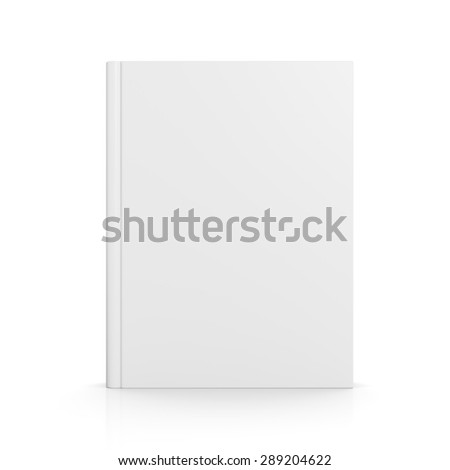 Front view of blank book cover standing on white background with shadow - stock photo