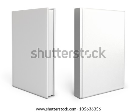 Front view of Blank book cover white. White background. 3d render - stock photo