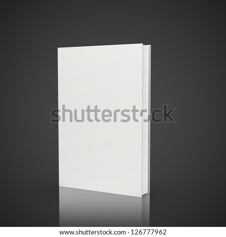 front view of blank book on black background - stock photo