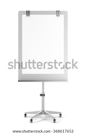 Front view of blank flip chart on white background - stock photo