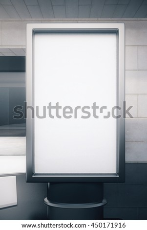 Front view of blank rectangular advertisement stand on exterior background. Mock up, 3D Rendering