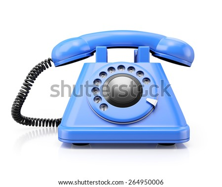 Front view of blue classic telephone on white background. 3d render