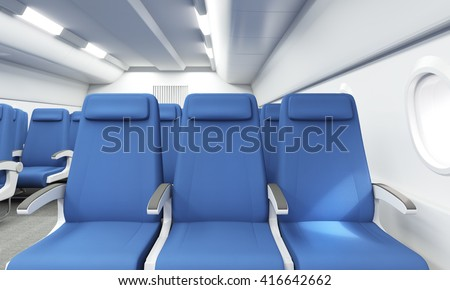 Front View Of Blue Seats In Bright Airplane Interior 3D Rendering