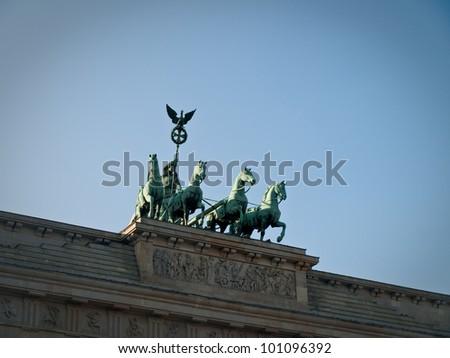 Front View of Brandenburg Gate Quadriga Chariot Statue with Sky Copyspace - stock photo