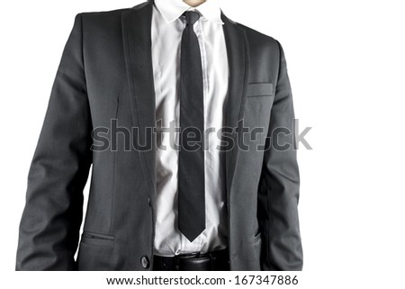 Front view of businessman in elegant suit. Isolated over white background. - stock photo