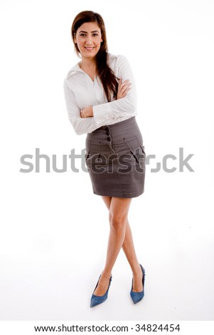 front view of businesswoman posing with white background - stock photo