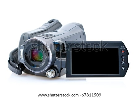 Front view of camcorder with view screen, isolated on white background - stock photo