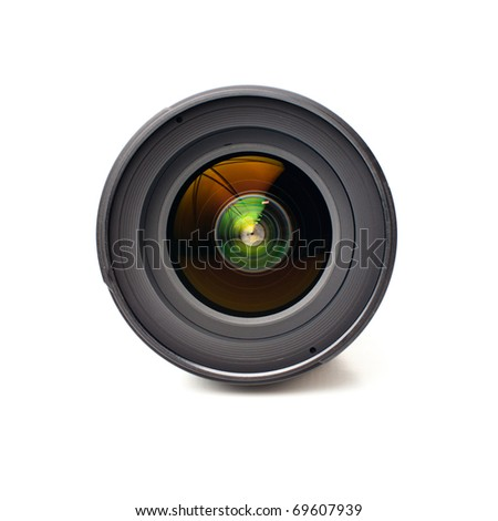 Front view of camera lens isolated on white background - stock photo