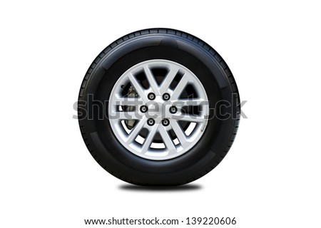 front view of car tire isolated on white background
