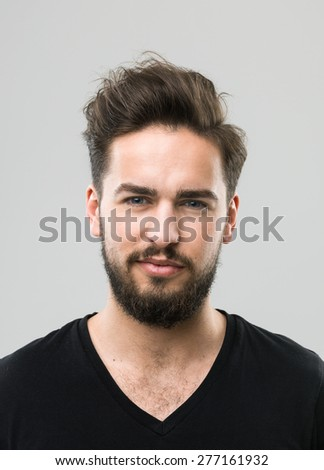 front view of caucasian man. real people portrait - stock photo