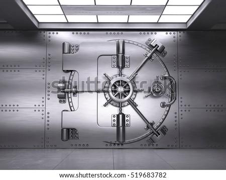 front view of closed bank vault door 3d render