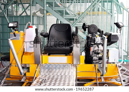 Front view of concrete grader for construction industry