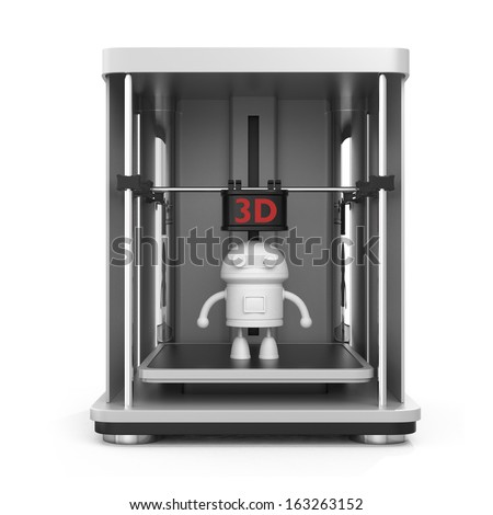 Front view of 3D printer and printed model. clipping path available. - stock photo