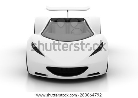 Front view of 3D white sports car isolated on white, 3D render - stock photo