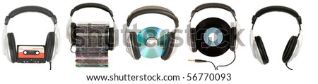 front view of dj headphones with different musical object - stock photo