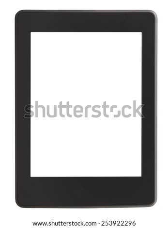 front view of e-book reader with cut out screen isolated on white background - stock photo