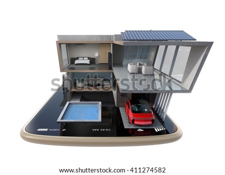 Front view of energy-efficient house equipped with solar panels, energy saving appliances on a smart phone.  automation home controlled by smartphone concept. 3D rendering image with clipping path. - stock photo