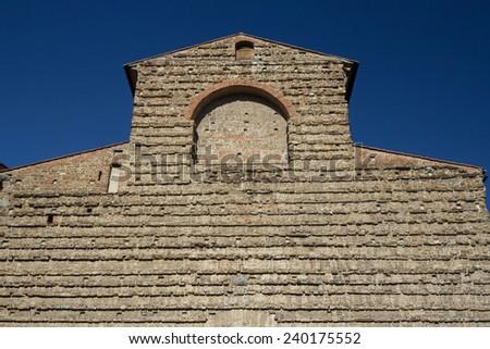 Front view of famous Sagrestia Vecchia in Florence (Tuscany, Italy). Horizontally. - stock photo