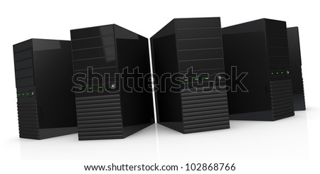 front view of five computers (3d render)