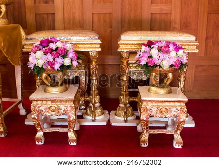 Front view of flowers decoration  style thai wedding ceremony