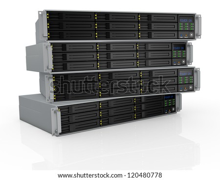 front view of four server racks with nine hd slots, powered on (3d render)