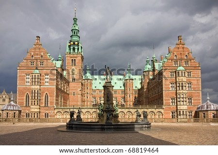 Front view of Frederiksborg castle in Hellerod, Denmark - stock photo