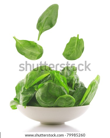 front view of fresh spinach in a white bowl - stock photo