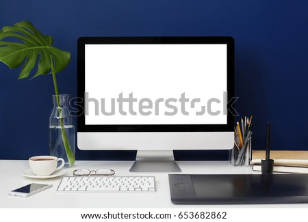 Front View Of Home Office Graphic Designer Desktop With Blank Copy Space PC Computer