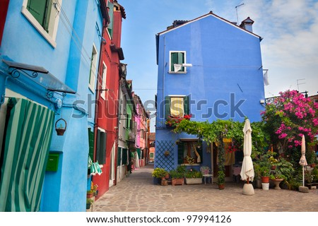 Front view of Home with garden / Old European Houses in the street  / Italy - stock photo
