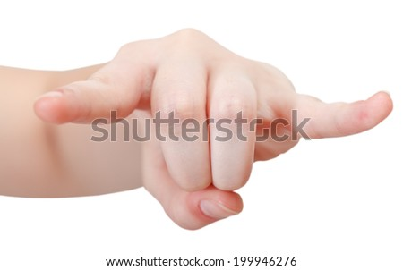 front view of horns finger sign - hand gesture isolated on white background