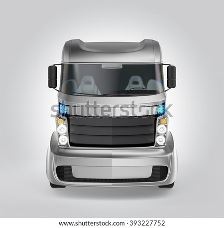 Front view of hybrid electric truck isolated on gray background. Clipping path available. - stock photo