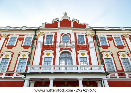 Front view of Kadriorg Palace in Tallinn Estonia, built by Tsar Peter the Great in 1725, on blue sky background. - stock photo