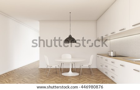 Front view of kitchen interior with small dining table and chairs, counter with stove and sink, cabinets, ceiling lamp, wooden floor and concrete walls. 3D Rendering