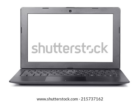 Front view of laptop with blank screen isolated on white - stock photo