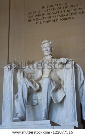Front view of Lincoln Memorial in Washington DC, USA - stock photo