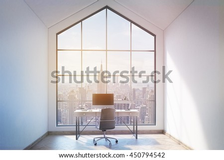 Front view of loft office interior with workplace, wooden floor, concrete walls and panoramic window with New York city view. Mock up, 3D Rendering - stock photo