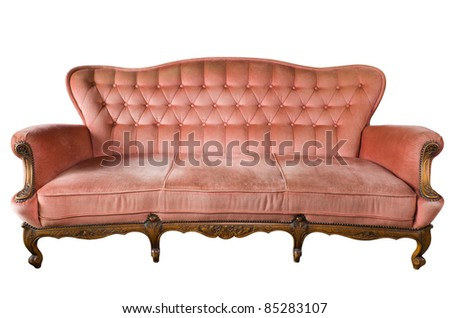 Front view of luxury vintage Sofa isolated on White Background
