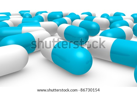 front view of many blue and white pills (3d render) - stock photo