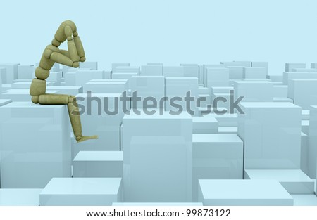 front view of many cubes of different size with a wooden dummy sitting on one of them (3d render) - stock photo