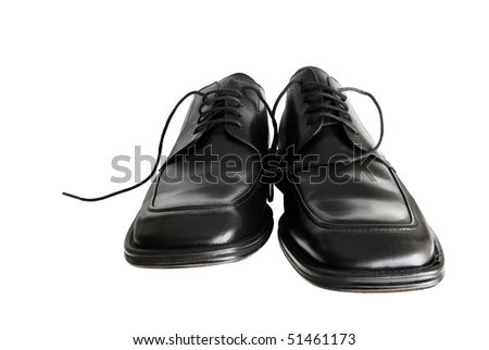 Front view of men shoes isolated on white background