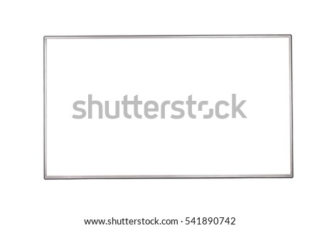 Front view of modern blank high definition LCD flat screen TV monitor, isolated on white background