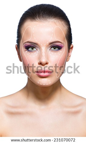 Front view of naked girl before a facelift, isolated on white. Concept of beauty - stock photo