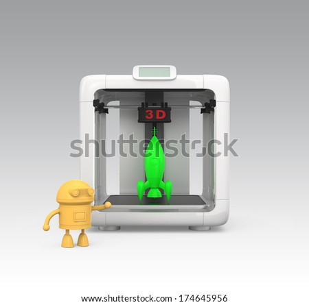 Front view of personal 3D printer and printed toy models - stock photo