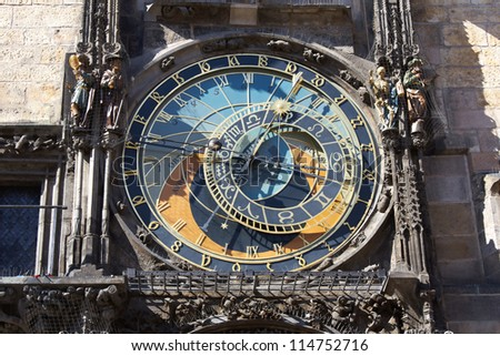 Front view of Prague astronomic clock - stock photo
