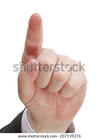 front view of pressing forefinger close up - hand gesture isolated on white background - stock photo