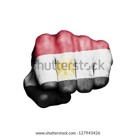 Front view of punching fist, banner of Egypt - stock photo