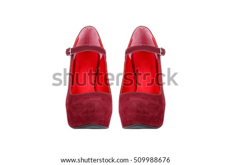 Front view of red business woman shoes, isolated on white background.
