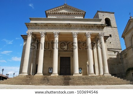 Front view of San Marino cathedral, San Marino republic, Italy - stock photo