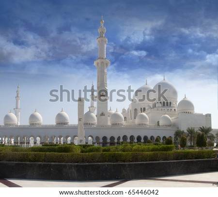 Front view of shaikh zayed mosque in Abu Dhabi. The third biggest mosque in the world. - stock photo